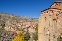 Historical city Albarracin in autumn colors Stock Photography