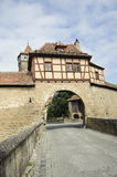 Historical city bridge in rothenburg. Royalty Free Stock Photo
