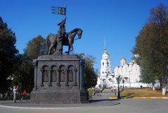 Historical city center and Assumption cathedral in Vladimir, Russia. Royalty Free Stock Images