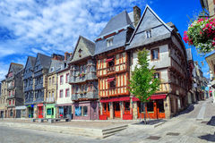Historical city center of Lannion, Brittany, France. Colorful medieval houses in the historical city center of Lannion, Brittany, France Stock Photos