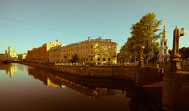 Historical city center Petersburg, reflection in water of Griboedov channel Stock Image