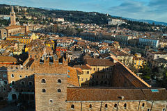 Historical city center Verona and hillside landscape aerial Royalty Free Stock Images