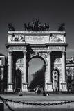 Historical city door. Peace door in milan Stock Photos