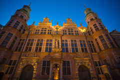 Historical city of Gdansk at night in poland Stock Photography