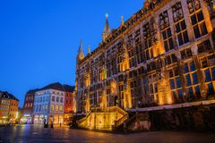 Historical city hall at night in Aachen, Germany royalty free stock image
