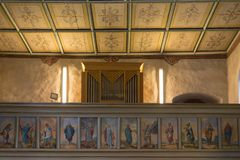 German catholic church with religious details around altar and a Royalty Free Stock Photo