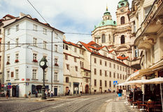 Historical cityscape of Praha with old houses and stores Stock Images