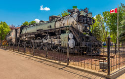 Historical Great Northern Class s-2 Baldwin Steam Locomotive. Old Steamer on display at the BNSF facilities in Havre MT Stock Photos