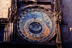 Historical clock. In Prague in Czech republic named Orloj Stock Photo