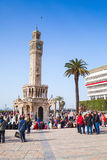 Historical clock tower, symbol of Izmir City, Turkey Stock Photos