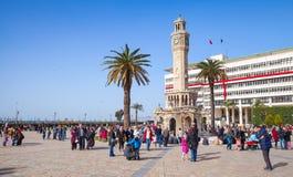 Historical clock tower, symbol of Izmir City Royalty Free Stock Photos