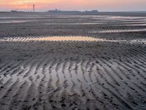 Historical coast of Dunkirk at sunset after low tide. France, North Sea, part of the Atlantic Ocean Stock Photography