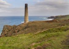 Historical coastline of cornwall Levant Mine Stock Photo