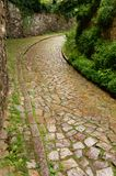 Historical cobble stone laid narrow street in Meissen, Germany stock image