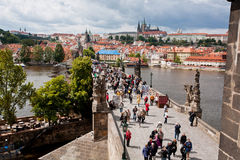 Historical cobbled Charles Bridge in Czech Republic Royalty Free Stock Image