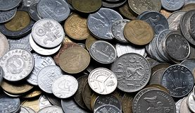 The historical coins. Detailed view of the historical coins Stock Image
