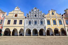 Historical colorful houses in the town center of Telc. In Czech Republic Stock Photography