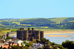 Historical Conwy Castle in North Wales Royalty Free Stock Images
