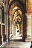 Historical corridor with columns. Colonnade in Vienna City Hall building. Austria Royalty Free Stock Photo