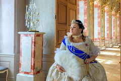 Historical cosplay. woman in the similitude of Catherine the Great, empress of Russia Royalty Free Stock Image