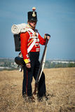 Historical costume of British army. September 29, 2012 in Crimea, Ukraine: Historical costume of British army - redcoat uniform of the 57th West Middlesex Stock Images