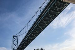 Historical Cruise Ship Lions Gate Bridge Crossing stock image