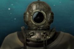 Historical deep-sea diver composition stock images