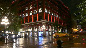 Historical district Vacouver Gastown. Night shot downtown Vancouver Canada Oct 2016 stock video footage
