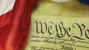 Historical Document US Constitution - We The People with American Flag stock video