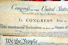 Historical Documents - United States Constitution. Constitution of the United States, American Flag Royalty Free Stock Photography