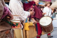 Historical drummers dressed in ancient clothes Stock Photography