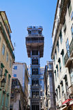 Historical elevator Santa Justa in Lisbon Royalty Free Stock Images