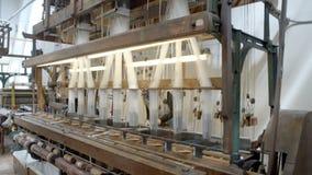 Historical european silk making machine stock video footage