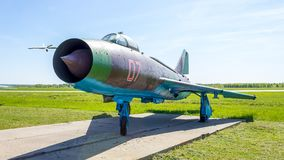 Historical exhibits of Russian military aircraft at the Kubinka airbase in the Moscow Region, Russia royalty free stock photos