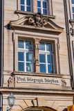 Historical facade in the city of Bayreuth - Post - Telephone - Telegraph Royalty Free Stock Image