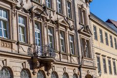 Historical facade in the city of Bayreuth - Post - Telephone - Telegraph Stock Photography