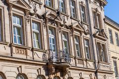 Historical facade in the city of Bayreuth stock images