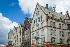 Historical facades of old Bergen town houses, Norway. Stock Image