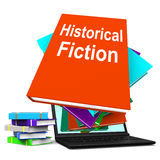 Historical Fiction Book Stack Laptop Means Books From History Stock Image