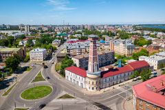 Historical fire-tower of Rybinsk, Yaroslavl oblast, Russia Royalty Free Stock Photo