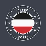 Historical Flag of Upper Volta. Round Label with Country Name for Unique National Goods. Vector. Isolated royalty free illustration