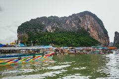 Historical floating Koh Panyi settlement, Phang Nga Bay, Krabi, Thailand. Royalty Free Stock Images