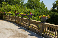 Historical Flower Pots. Flowers in Flower Pots on Historical Balcony stock images