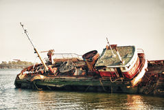 Historical forgotten ship wreck Stock Images