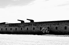 Historical fort on beach in black and white Royalty Free Stock Photography