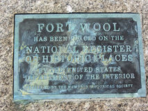 Historical Fort Wool Placard Stock Photography