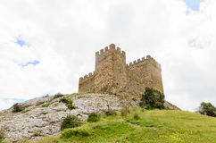 Historical fortified castle on a hilltop Stock Photos