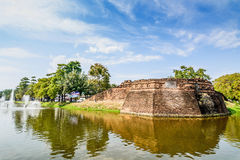 Historical fortress and ancient wall in chiang mai, landmark of Stock Image