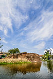 Historical fortress and ancient wall in chiang mai, landmark of Stock Photo