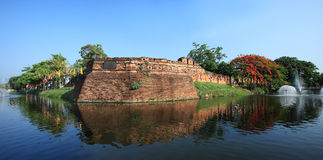 Historical fortress and ancient wall in chiang mai, landmark of Thailand (700 years old) Stock Photography